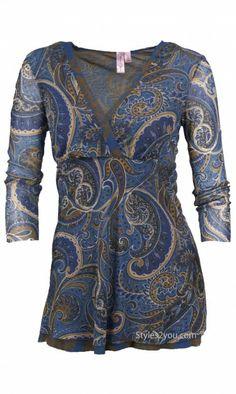 Sweet Pea Clothing Paisley Blouse Sweet Pea Womens Clothing 3/4 Sleeve Top