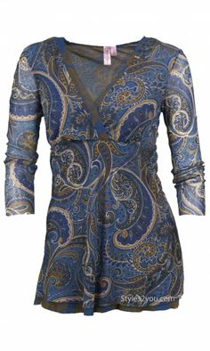 Sweet Pea Clothing Paisley Blouse Sweet Pea Womens Clothing 3/4 Sleeve Top