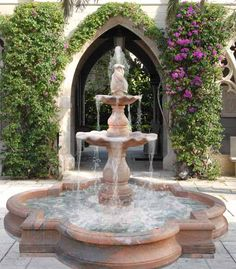 classic garden fountain and backyard landscaping ideas