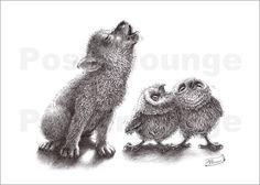 """Heulender Wolf trifft heulende Eulen"" Poster & Kunstdruck von Stefan Kahlhammer http://www.posterlounge.de/heulender-wolf-trifft-heulende-eulen-pr237106.html"