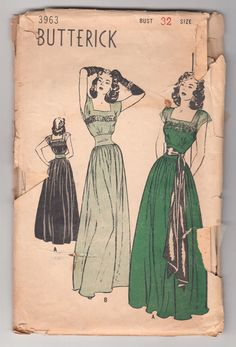 Vintage Sewing Pattern Rare Ladies 1940's Evening Gown