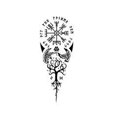 Viking Vegvisir & Yggdrasil temporary tattoo symbol in a symbiotic design. Viking Tattoos For Men, Viking Rune Tattoo, Viking Tattoo Sleeve, Norse Tattoo, Viking Tattoo Design, Tattoos For Guys, Armor Tattoo, Tattoo Symbols Men, Unique Tattoos For Men