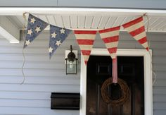 American Flag - Burlap bunting banner Red White and Blue from HerBeautifulLife on Etsy $23.99