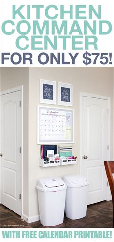Kitchen command center with FREE calendar printable! Love the calendar! I'd put menu instead of notes I think.
