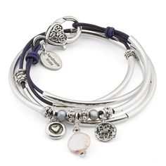 Mini Charmer w Pearl charm trio leather wrap bracelet in Natural Purple leather, comes as shown
