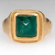 Custom 4.2 Carat Square Sugarloaf Emerald Ring 18K