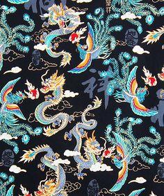 Navy Blue Thick Brocade Dragon Tibetan Textile Tibetan
