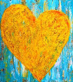 YELLOW HEART, acrylic on canvas, 110 x 100 cm, abstract art by Eva Tikova Happy Colors, Abstract Art, Canvas, Yellow, Heart, Painting, Collection, Tela, Painting Art