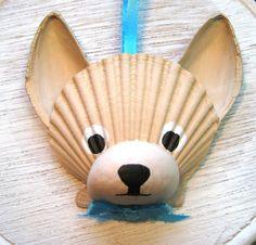 Chihuahua Ornament. Beige, tan, cream chihuahua ornament. Beach, nautical cape cod dog art. on Etsy, $20.00