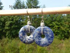 Blue gemstone earrings. Sodalight stone and sterling silver. McKee Jewelry Designs, Andria McKee. boho, bohemian, handmade jewelry.