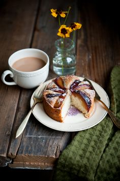 Desserts for Breakfast: Plum, Rosemary, and Brandy Cakes--the simplicity of the setup draws my eyes in