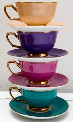 I don't even like tea, but these are amazing! Inspiration for new dining room. Christina Re ~ Tea cups for a High Tea Tassen Design, Coffee Cups, Tea Cups, Teapots And Cups, My Cup Of Tea, Jewel Tones, Jewel Tone Colors, Bright Colors, Colours