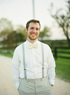 May just have to make all of the groomsmen wear suspenders and bowties. Or at least Taylor will be on board with this. (Loving the colors, but would have the tie be a light green or more ivoryish) Groom Wear, Groom Attire, Groom Dress, Groomsmen Outfits, Groom And Groomsmen, May Weddings, Southern Weddings, Wedding Ties, Wedding Bride