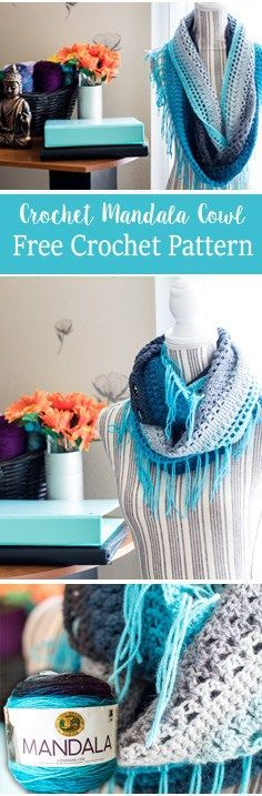 Crochet Mandala cowl, free crochet pattern for the mandala yarn by Lionbrand. Includes written pattern and video tutorial.