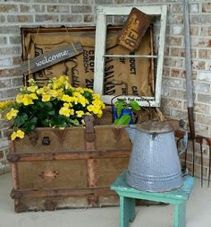 my finds for flowers using repurposed rustic reused reclaimed stuff, container gardening, gardening, repurposing upcycling, MY VINTAGE TRUNK FLOWERS