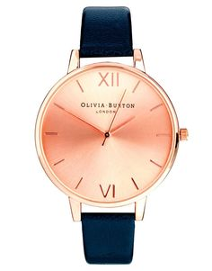 Olivia Burton   Olivia Burton Big Dial Navy Watch With Rose Gold Face at  ASOS Marine 2ff844708fe6