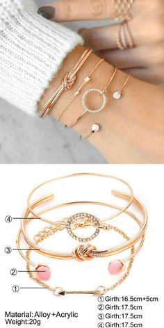 Cute Simple Personality Knotted Circle Diamond Arrow Four-piece Open Bracelet #bracelet #arrow
