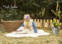 Easter, baby girl and animal