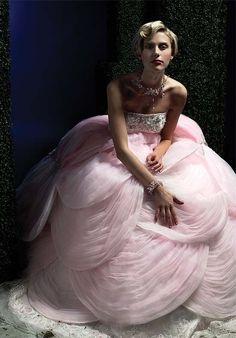 Stunning flower design pink wedding gown