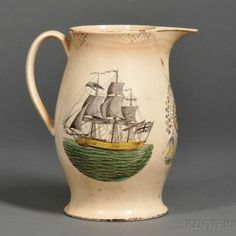 Transfer-decorated Liverpool Creamware Jug, England, early 19th century, with black transfer decoration with polychrome highlights, one side...