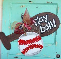 Bat and Ball door hanger Sports door hanger by paintchic on Etsy Burlap Projects, Burlap Crafts, Wood Crafts, Diy Projects, Wood Yard Art, Crafts To Make, Diy Crafts, Baseball Wreaths, Burlap Signs