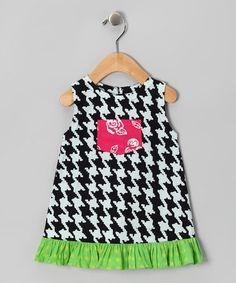 Take a look at this Black & Green Houndstooth Pocket Dress - Infant, Toddler & Girls by Frumpy Rumps on #zulily today!