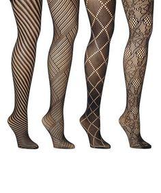 90529d31a Black Fishnet Lace Four-Pair Tights Set - Women #zulily #zulilyfinds Black  Fishnets