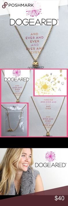 """Dogeared Love Forever Heart Gold 16"""" necklace NWT Dogeared Gold Plated 'For Ever' Engraved Heart Reminder Necklace  PRODUCT DETAILS  Handcrafted in the USA 14kt gold-plated sterling silver Fine chain Engraved heart pendant 40% Brass, 38% Sterling Silver, 20% Gold, 2% Gold Plated American jewelry label, Dogeared, work within a happy Karma culture to create beautiful, individual pieces """"in the spirit of love, kindness and consciousness"""". Dogeared's earth-friendly aesthetic delivers unique…"""