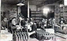 Travail du vin de Champagne : L'emballage aux caves Pol Roger à Epernay dans la Marne, vers 1905. http://www.geneanet.org/search/collection
