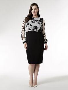 Marina Rinaldi plus size DELIA white: Knee length dress with georgette top.
