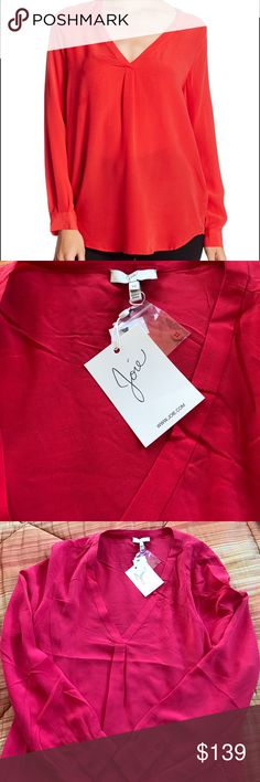 JOIE Daryn Tangerine Red Blouse BNWT beautiful reddish orange JOIE long sleeve 100% silk blouse. Incredibly soft and luxurious to the touch. Button sleeve cuffs but can also be rolled up. Slightly longer in the back. Underarm to underarm measures about 20 inches and from should to longest part in front is about 28 inches long. Joie Tops Blouses