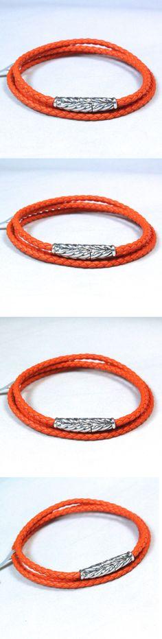 Bracelets 137835: New David Yurman Mens Chevron Orange Leather Triple Wrap Bracelet Medium $295 BUY IT NOW ONLY: $255.0
