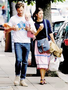 Jamie Dornan with his wife and baby douther out for a lunch in North London (August 20, 2014)