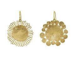 Judy Geib - Gold Flat Flowery Earrings in Occasions Go for Gold! at TWISTonline