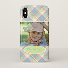 Custom Tartan Plaid Pattern Pretty Summer Colors iPhone X Case - retro gifts style cyo diy special idea