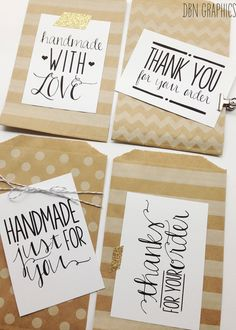 Labels for Handmade Sellers /// Handmade with love /// Thank You for Your Order /// Printable