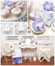 Pastel French Country themed birthday party with Such Gorgeous Ideas via Kara's Party Ideas | Cake, decor, cupcakes, games and more! KarasPa...