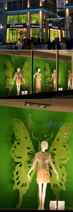 HALLBUBER | A monochromatic display is always impactful.  Add a few large spring icon silhouettes like butterfly wings, flowers, etc and you're done! #visualmerchandising #windowdisplays