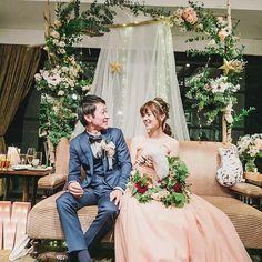 お気に入りの高砂写真で #marryアプリ掲載応募 してみる(*ˊᵕˋ*) . . #結婚式 #高砂ソファ #チュールライト #リースブーケ #ナンザンハウス #プレ花嫁 #卒花嫁