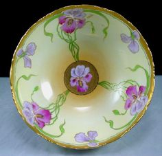 """Stouffer HP Limoges """"Irises"""" Punch Bowl 1905-06 from ecollectics on Ruby Lane"""