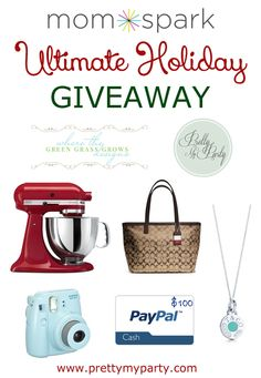 Win over $1,300 in prizes in the Ultimate Holiday Giveaway 2013!  Up for grabs is a KitchenAid Mixer (Color of choice), a Coach handbag, a gorgeous necklace from Tiffany & Co., $100 in PayPal cash to spend for the holidays, and a Fujifilm Mini Instant Camera! #giveaway