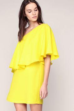 Robe jaune asymétrique volants Joya Ba&sh - 291071 - MSR Monshowroom.com