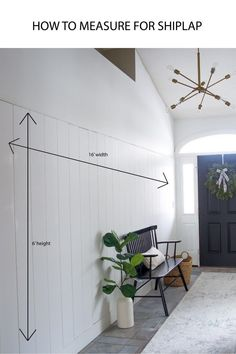 Information on how to measure for a shiplap project. Vertical Shiplap installation. #verticalshiplap #shiplaptutorial