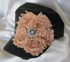 BLACK Military Distressed Cadet Army Hat with by theraggedyrose, $35.00