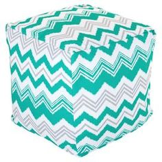 Cotton-blend pouf with a zigzag motif.   Product: PoufConstruction Material: Outdoor treated polyester cover, recycled polystyrene beads and waterproof denier baselColor: PacificFeatures: Suitable for indoor and outdoor useZippered slipcoverMade in USADimensions: 16 H x 17 W x 17 DCleaning and Care: Machine wash cover warm, tumble dry low or air dry