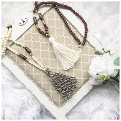 fall cotton tassel necklaces