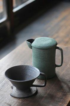 Coffee Brewing coffee cone wheel thrown pour over cone Coffee brewing cone in Satin Black glaze ceramic coffee stoneware handmade