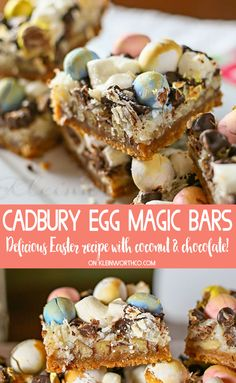 Cadbury Magic Bars have a graham cracker crust, sweetened coconut, chocolate chips & Cadbury Egg candies.This is one YUMMY Easter treat!