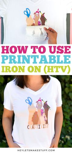 Your imagination is the only limit when it comes to printable iron on vinyl! Print out a design on printable iron on using your home printer and adhere to t-shirts, onesies, hats, and more! Cricut Printable Iron On, Cricut Iron On Vinyl, Printable Htv, Free Printables, Diy Shirt Printing, How To Make Iron, Vinyl Printer, Cricut Tutorials, Cricut Ideas
