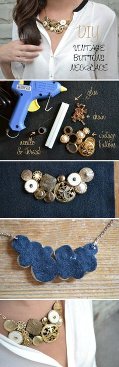 Vintage button necklace DIY Love this, so much
